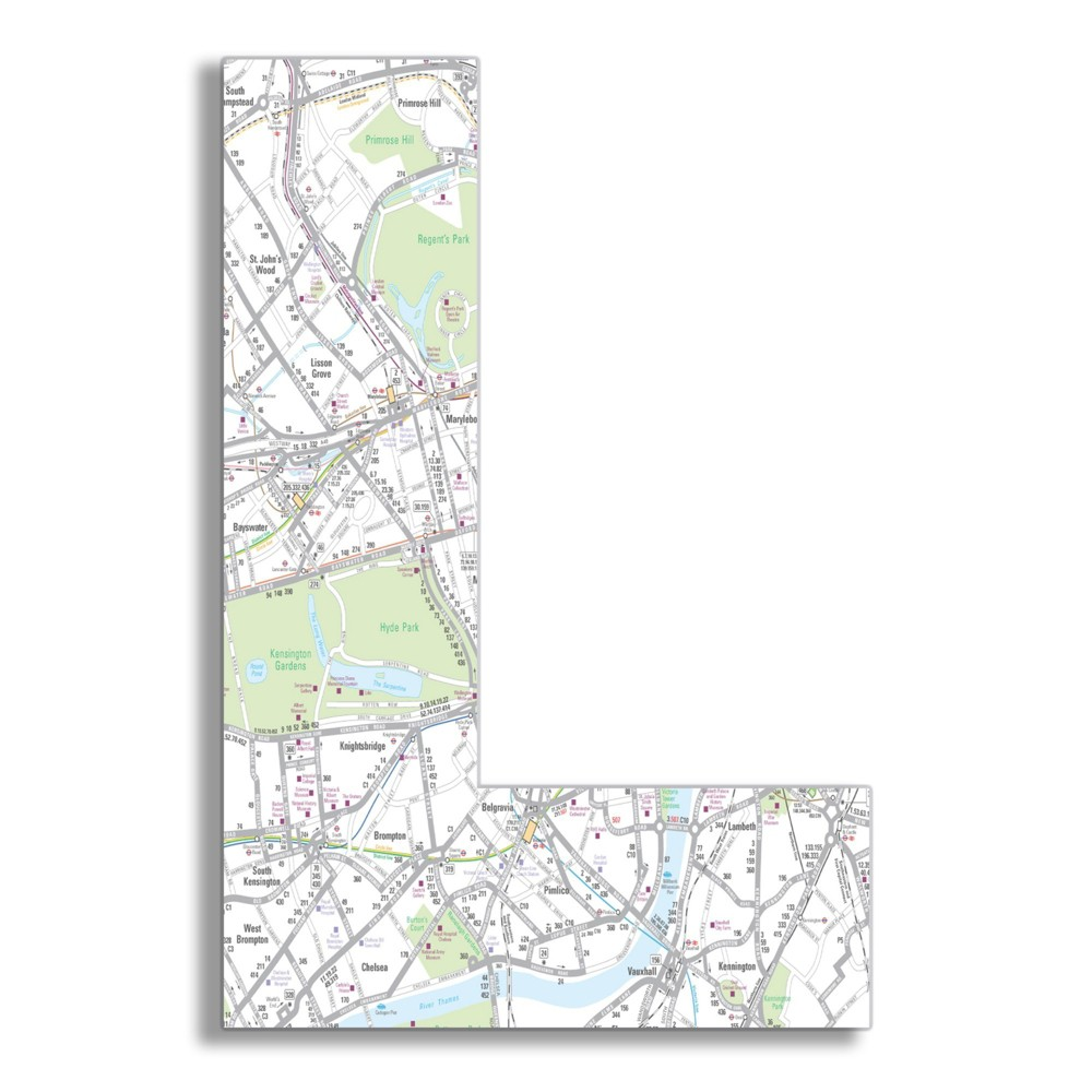 London Map 18 Inch Hanging Wooden I Initial (12x18