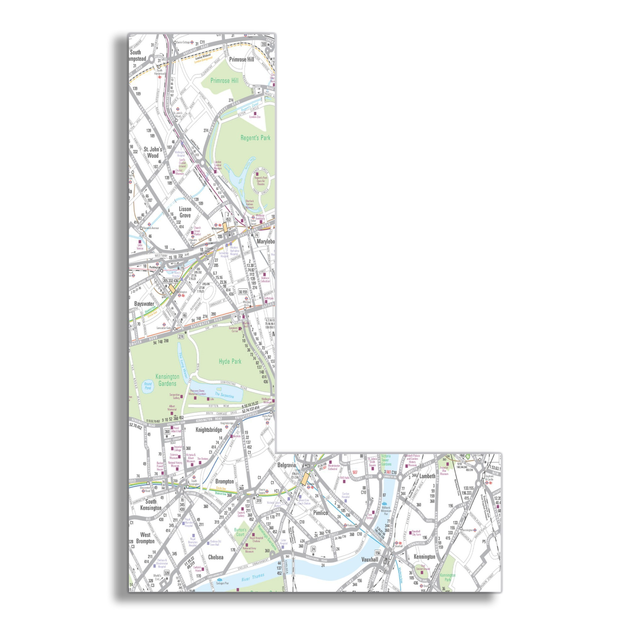 London Map 18 Inch Hanging Wooden B Initial (12x18