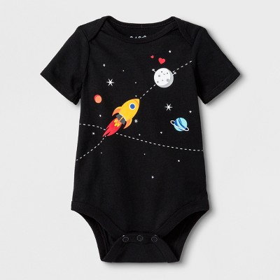 Baby Girls' Short Sleeve Space Bodysuit - Cat & Jack™ Black 3-6M