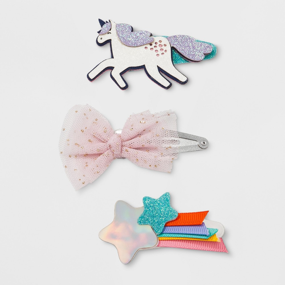 Girls' 3pk Unicorn Clips - Cat & Jack, Multi-Colored