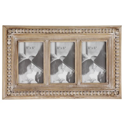 """17"""" x 10"""" Large Rectangular Whitewashed Wood Picture Frame Wall Decor with 3 Frames and Wood Bead Trim - Olivia & May"""