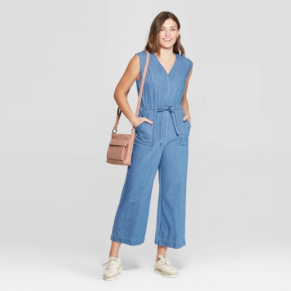 Women's Sleeveless Deep V-Neck Denim Wide Leg Jumpsuit - Universal Thread Medium Blue M