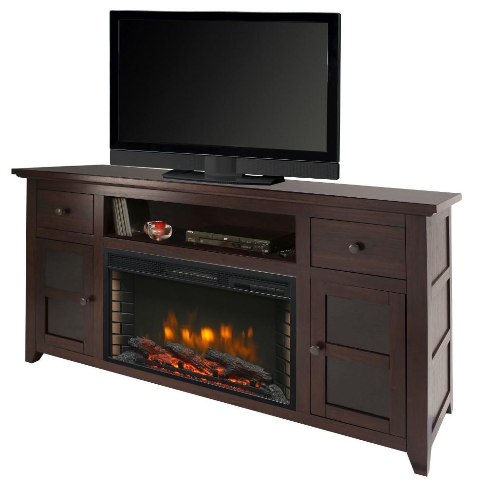 "Image of ""Winchester 56"""" Media Electric Fireplace Dark Walnut Brown - Muskoka"""