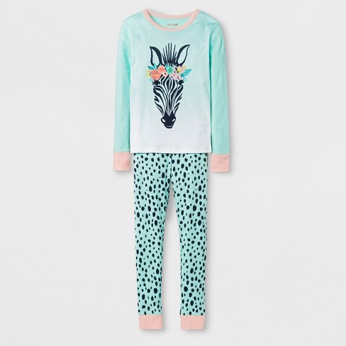 c0b7a9d875 Girls  Zebra Graphic Tight Fit Pajama Set - Cat   Jack™ Green   Target