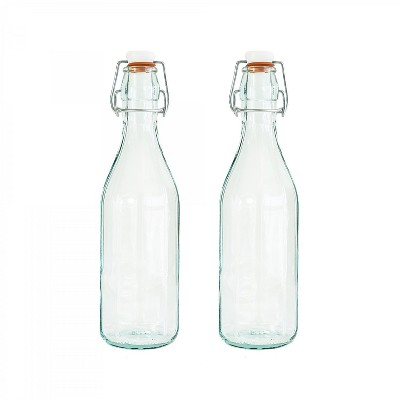 Amici Home Italian Recycled Green Faceted Glass Bottle, 17oz, Set of 2