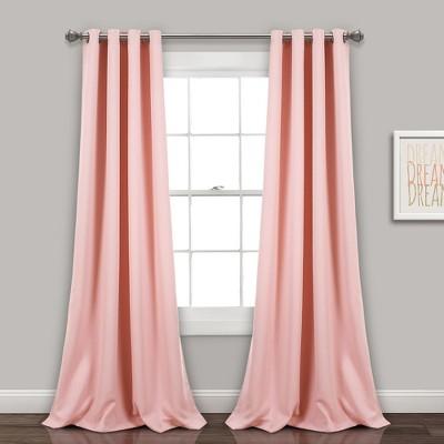 Insulated Grommet Blackout Curtain Panels Pink Pair Set 84 x52  - Lush Decor