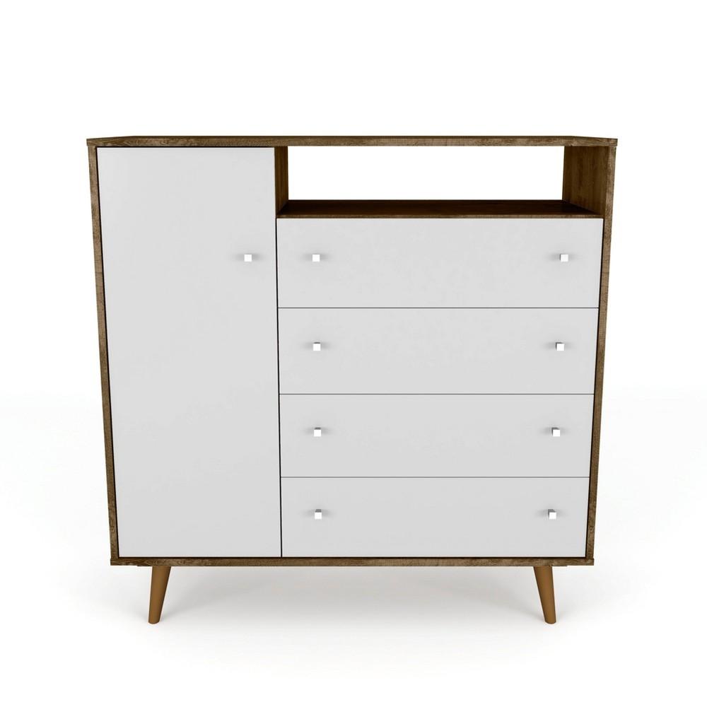 42.32 Liberty 4 Drawer Sideboard Rustic Brown/White - Manhattan Comfort