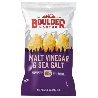 Boulder Canyon Malt Vinegar & Sea Salt Kettle Cooked Potato Chips - 6.5oz