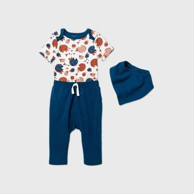 Baby Boys' Hedgehog Top & Bottom Set with Bib - Cat & Jack™ Blue 0-3M