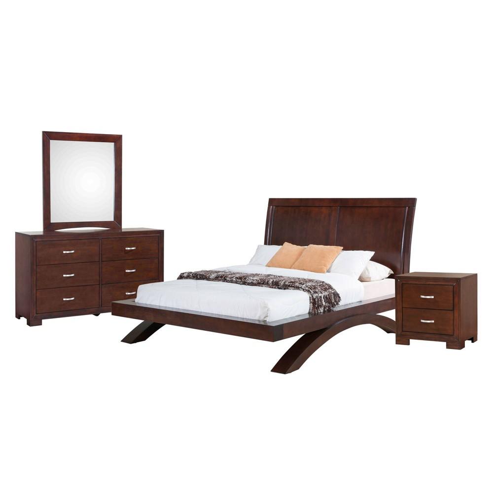 4pc King Zoe Platform Bedroom Set Espresso Brown - Picket House Furnishings