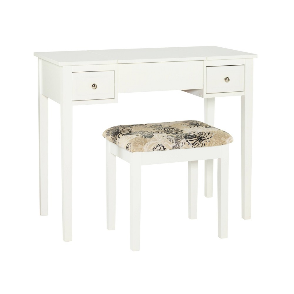 Butterfly Vanity and Stool White - Linon Butterfly Vanity and Stool White - Linon