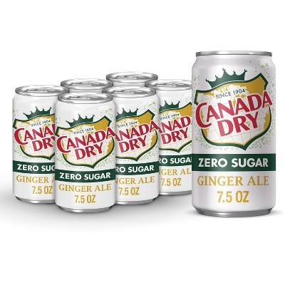 Canada Dry Zero Sugar Ginger Ale Soda - 6pk/7.5 fl oz Cans