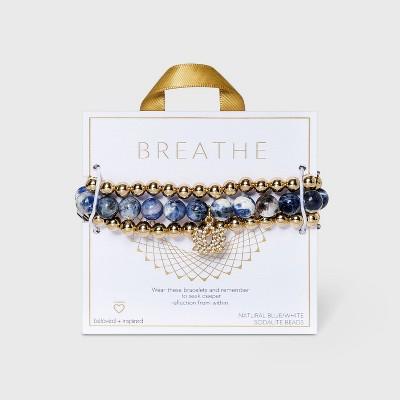 Beloved + Inspired Gold Jade with Lotus Charm Trio Stretch Beaded Bracelet Set - Jade