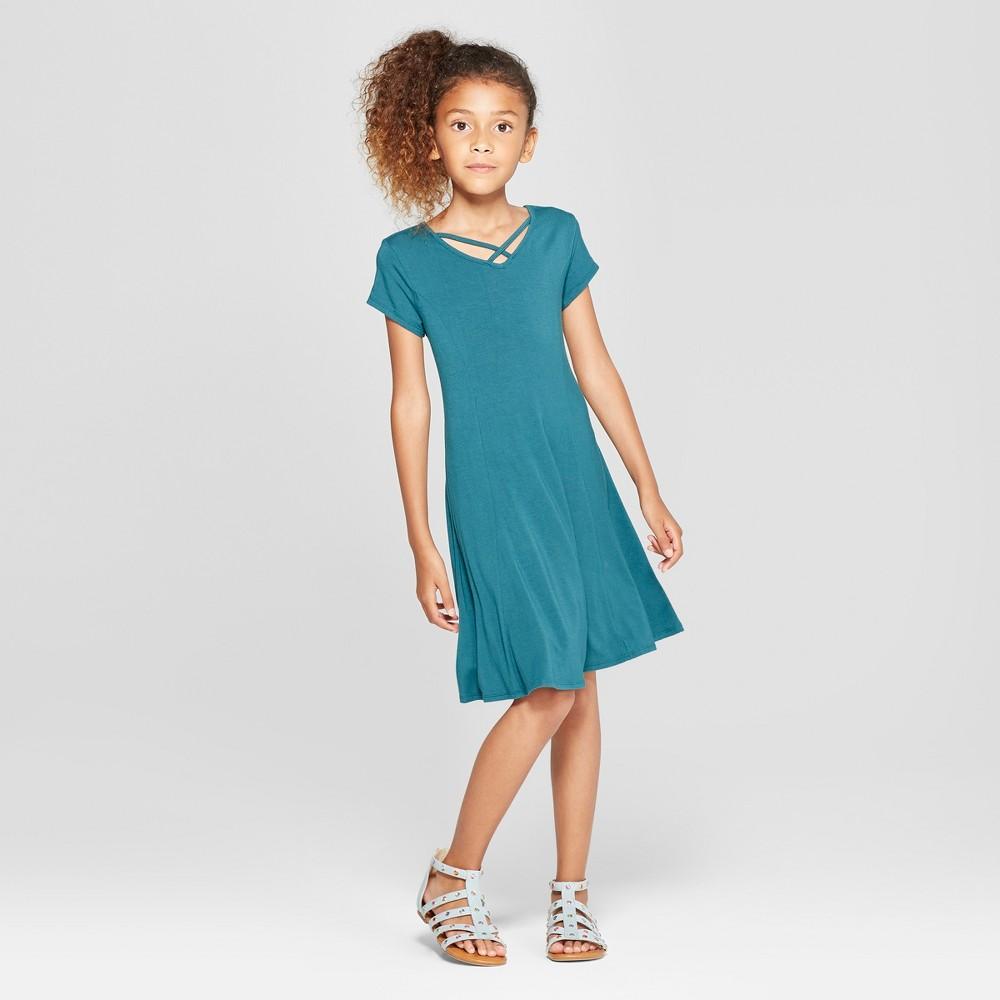 Girls' Strappy Front Dress - art class Teal XS, Green