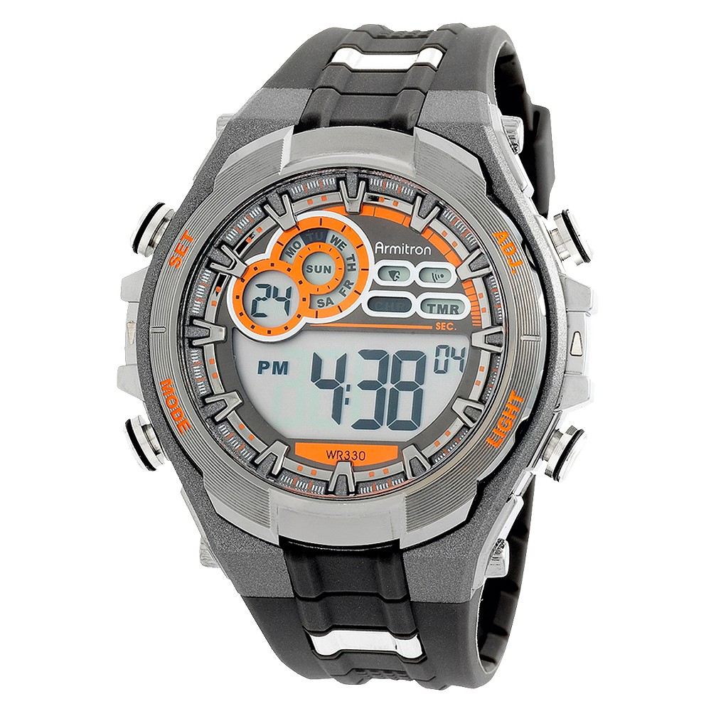 Image of Armitron Men's Digital Sports Watch - Gray, Men's, Size: Small, Orange Black