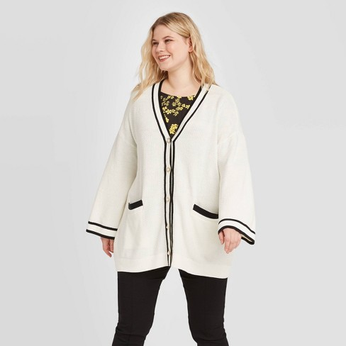 Women's Plus Size Striped Long Sleeve Open Cardigan - Who What Wear™ White - image 1 of 3