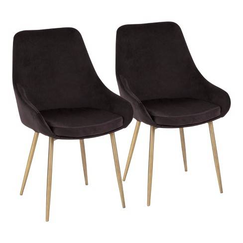 Set of 2 Diana Contemporary Chair in Satin Brass Metal - LumiSource - image 1 of 8