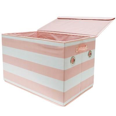 Large Rectangle Stripe Toy Storage Bin Pink & White - Pillowfort™