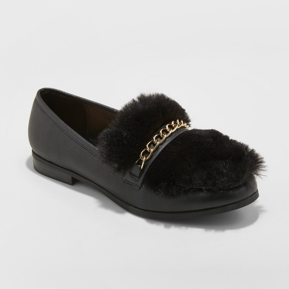 Women's Sal Faux Leather Fur Closed Loafers - A New Day Black 5
