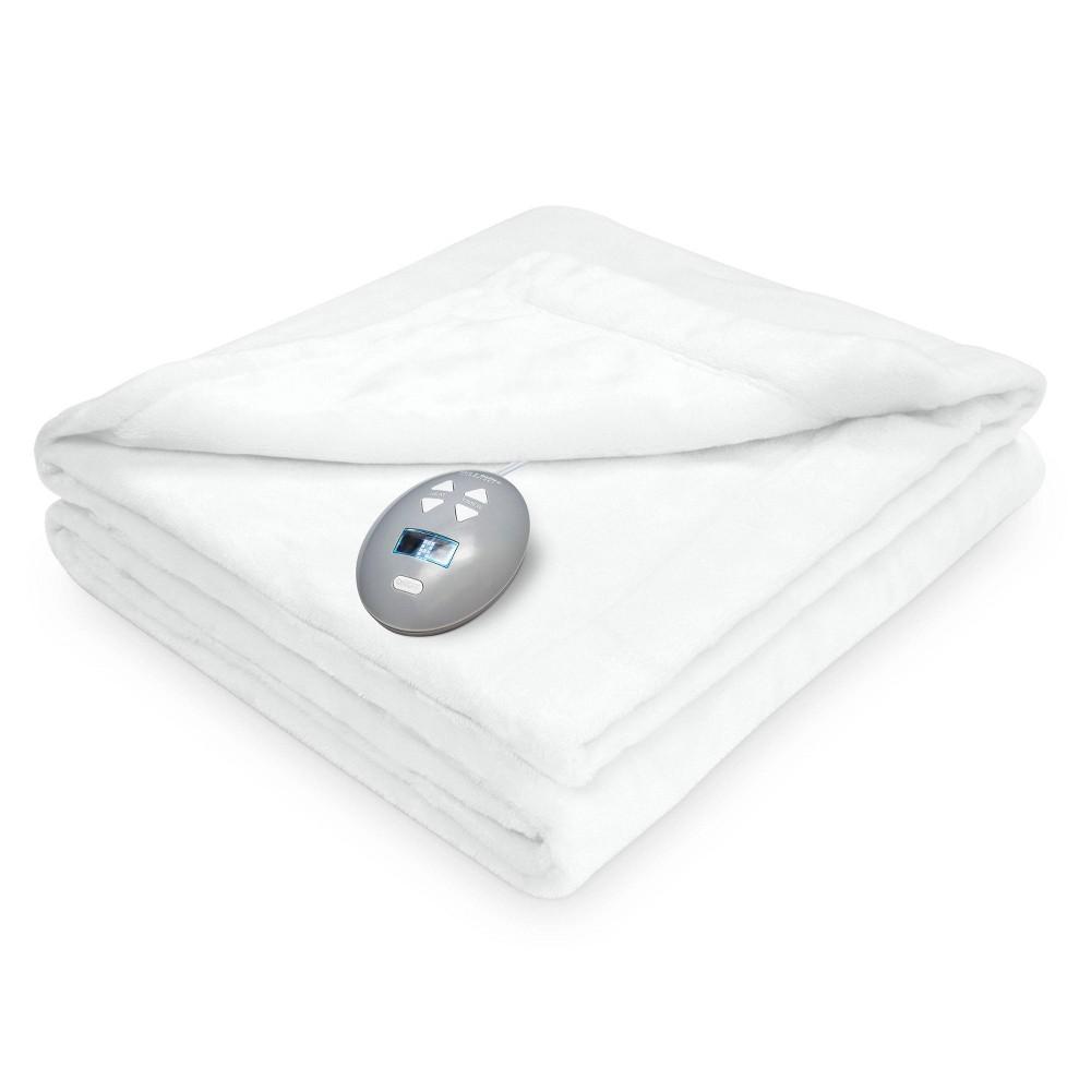 Image of Full Velvet Plush Electric Bed Blanket White - Soft Heat