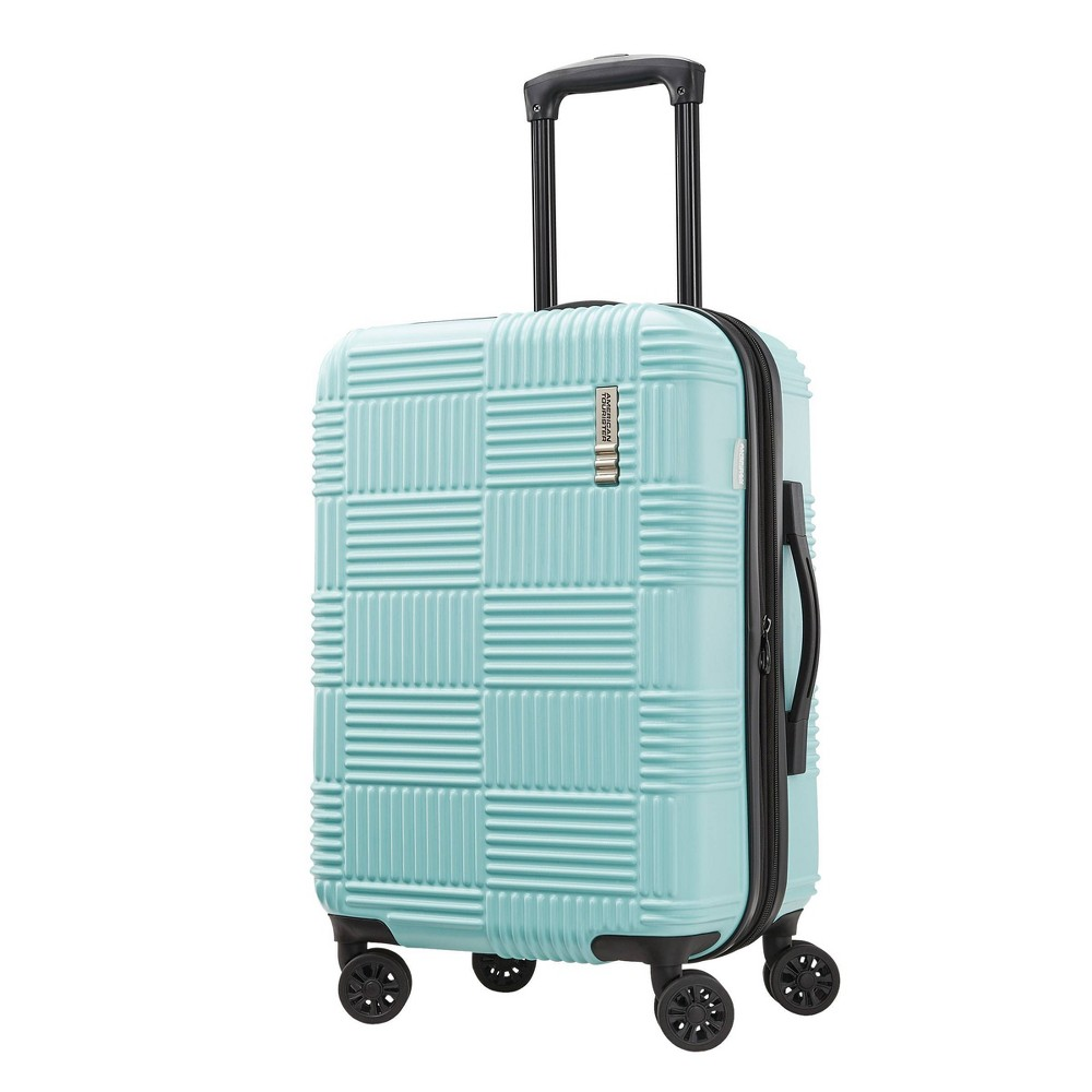 "Image of ""American Tourister 20"""" Checkered Carry On Hardside Spinner Suitcase - Mint Green, Green Green"""