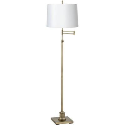 360 Lighting Modern Swing Arm Floor Lamp Adjustable Height Antique Brass White Fabric Drum Shade for Living Room Reading Bedroom