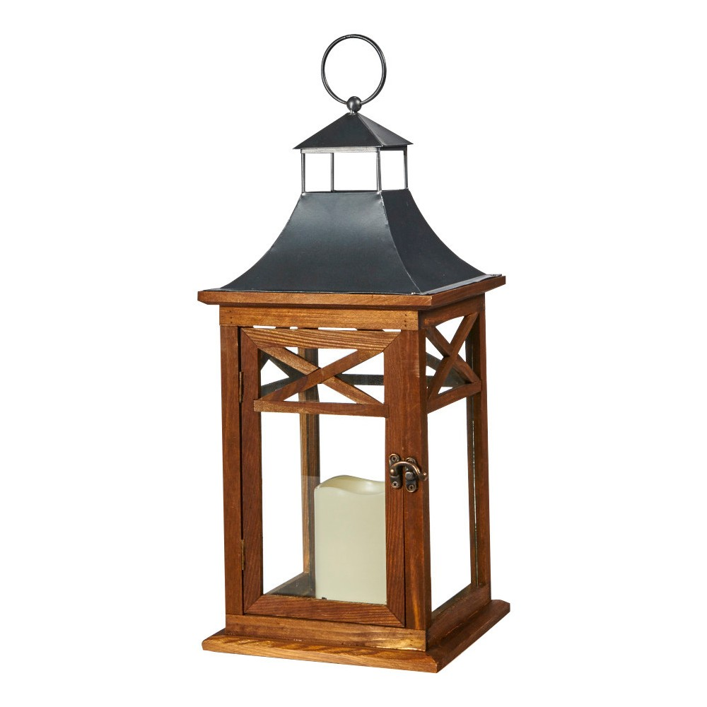 "Image of ""Smart Living Portland 17"""" LED Candle Outdoor Lantern - Dark Coffee"""