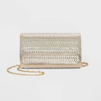 Estee & Lilly Crystal Flap Snap Closure Clutch - Gold