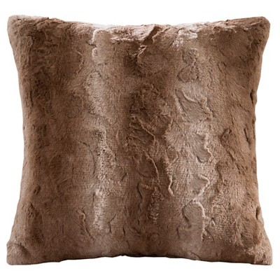 """20""""x20"""" Marselle Faux Fur Square Throw Pillow"""