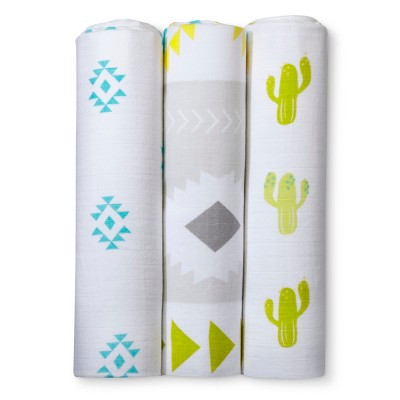 Muslin Swaddle Blankets Cactus 3pk - Cloud Island™ - Green