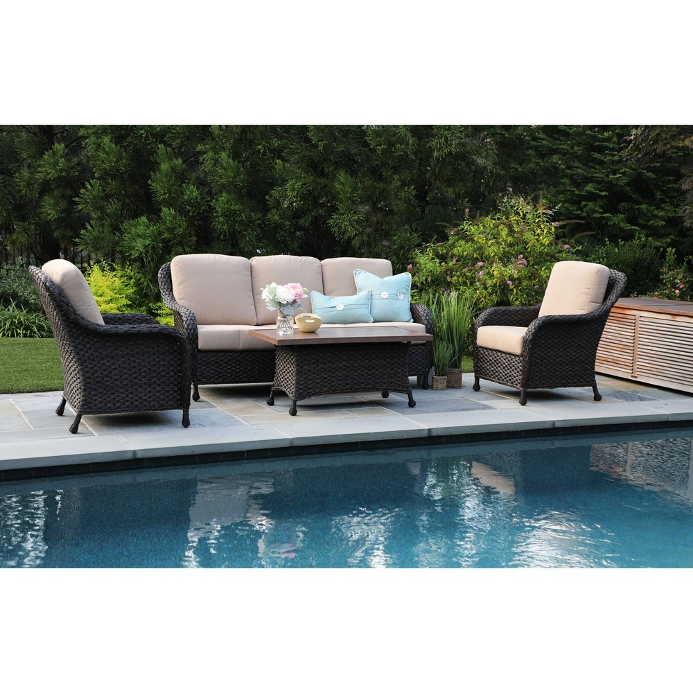 Image of Sycamore 4pc Sunbrella Deep Seating Set Tan - Canopy Home and Garden