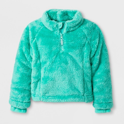 Toddler Girls' Adaptive Fleece Jacket - Cat & Jack™ Green - image 1 of 3