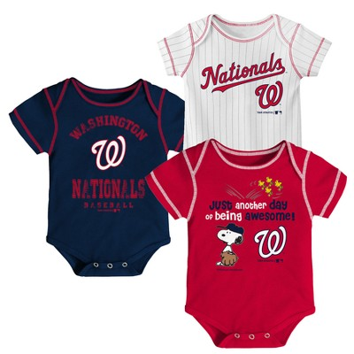 Washington Nationals Baby Boys' 3pk Short Sleeve Bodysuit - 0-3M