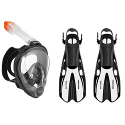 Head Sea VU Snorkeling Mask, Medium & Volo One White Scuba Fins, Medium/Large