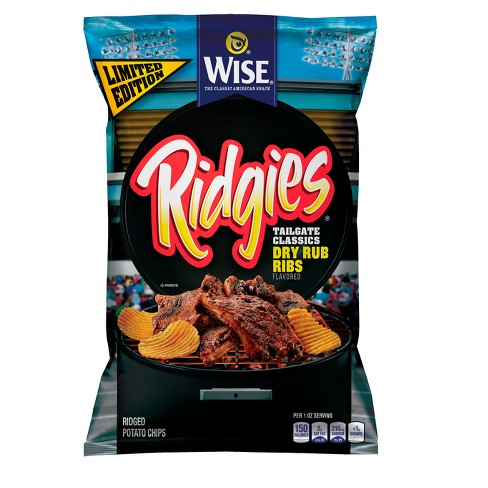 Wise® Ridgies® Tailgate Dry Rub Ribs Flavored Potato Chips - 8.25oz - image 1 of 1