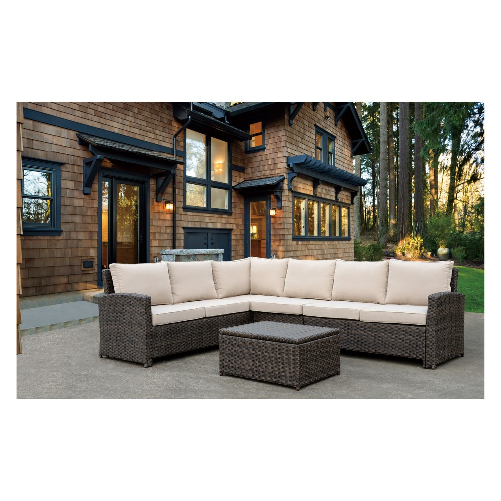 4pc Rooftop Outdoor Sofa Sectional with Cushions & Coffee Table - Brown - Courtyard Casual