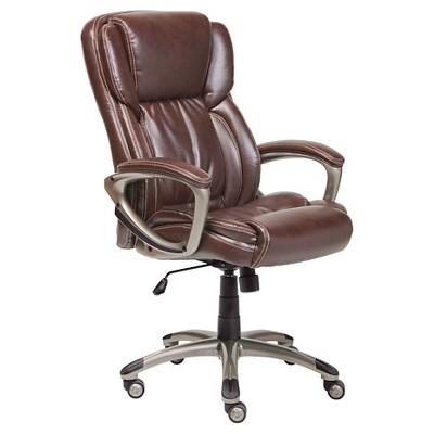Superbe Smart Layers Premium Ultra Executive Chair Tranquil Brown Bonded Leather    Serta