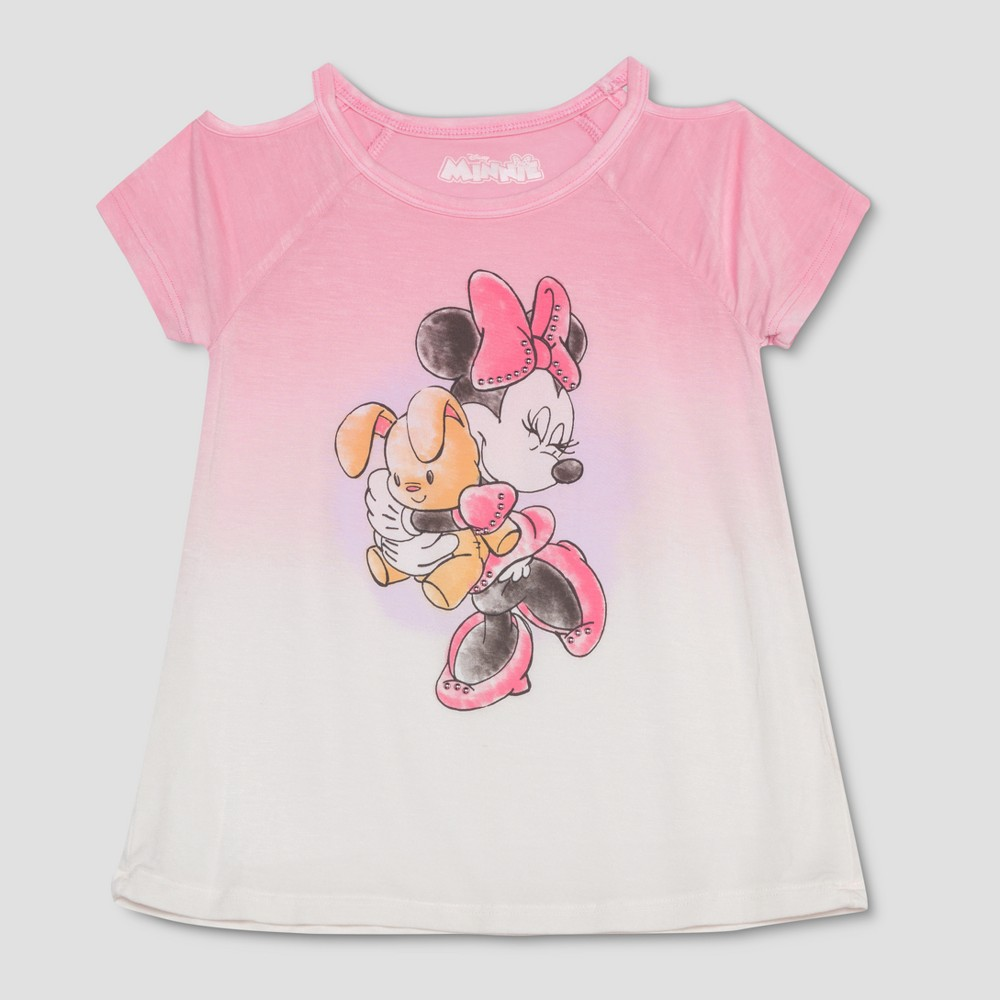 Toddler Girls' Disney Mickey Mouse & Friends Minnie Mouse with Bunny Cold Shoulder Short Sleeve T-Shirt - Soft Pink 5T