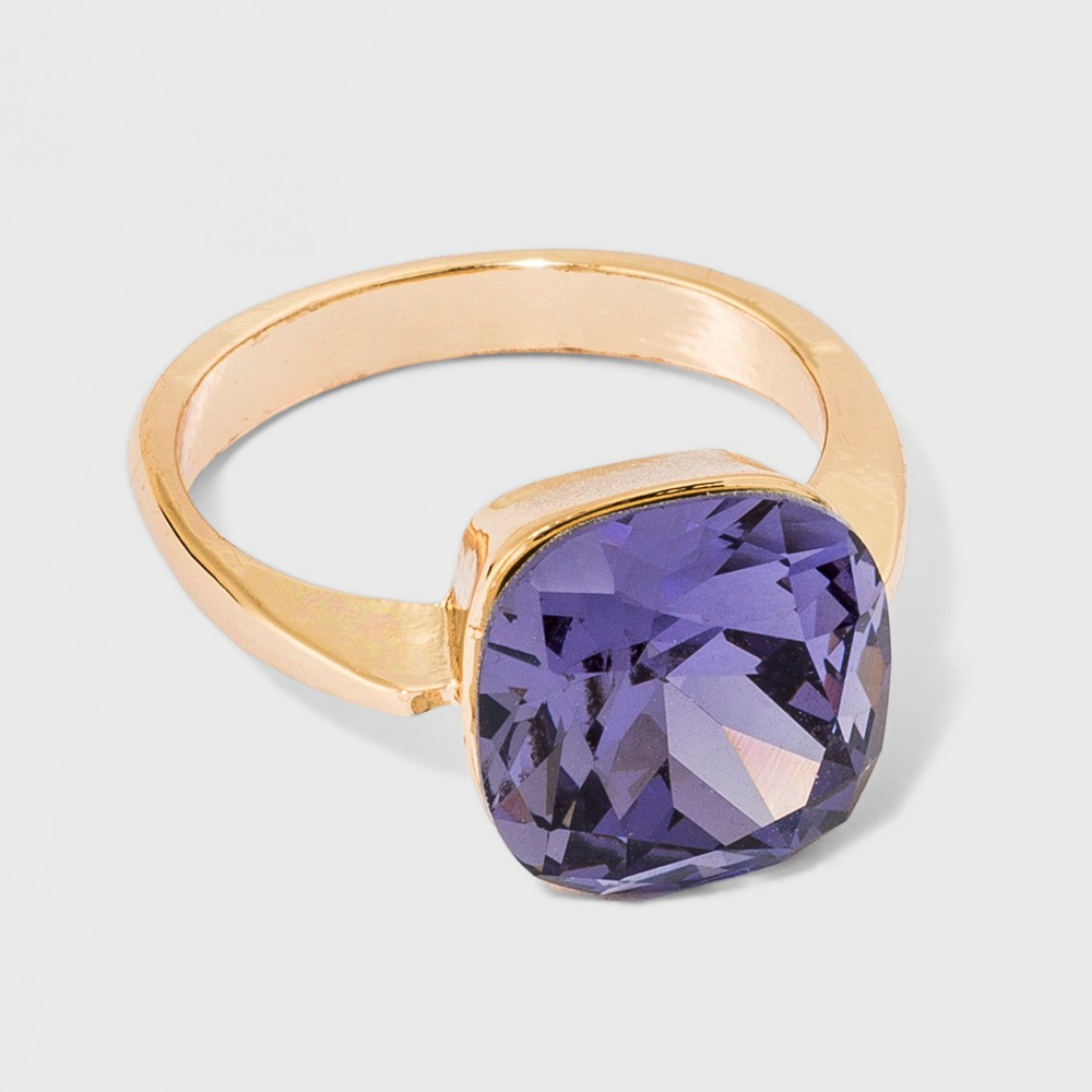Solitaire Purple Glass Ring - A New Day Size 8 Gold, Blue Gold