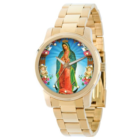 Men's eWatchfactory Our Lady of Guadalupe Religious Bracelet Watch - Gold - image 1 of 2