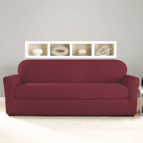 2pc Stretch Twill Sofa Slipcover Wine - Sure Fit - image 1 of 3