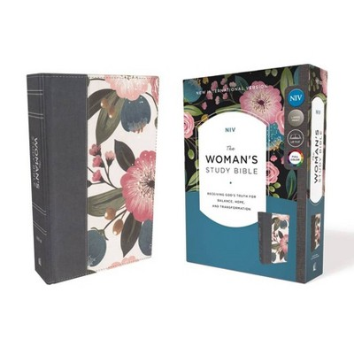 NIV, the Woman's Study Bible, Cloth Over Board, Blue Floral, Full-Color - by  Thomas Nelson (Hardcover)
