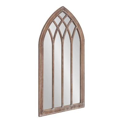 "24"" x 48"" Winn Wood Framed Arch Decorative Wall Mirror Rustic Brown - Kate & Laurel All Things Decor"