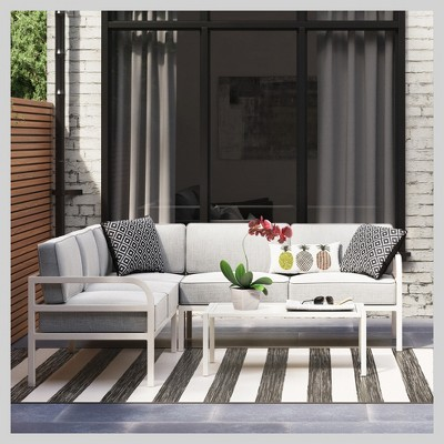 Beacon Hill 3pc Metal Patio Sectional Set   White   Room Essentials™