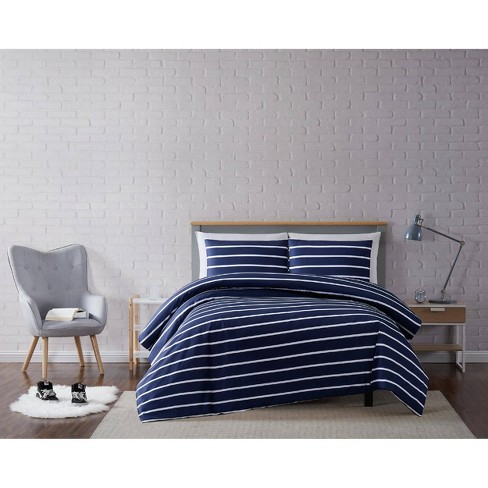 Truly Soft Everyday Full Queen Maddow Stripe Duvet Cover Set Navy Target