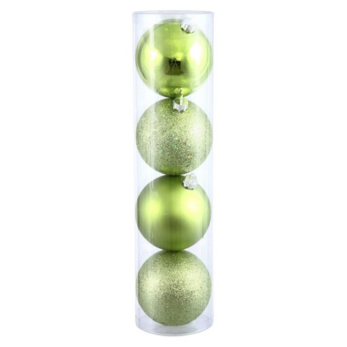4ct Lime Assorted Finishes Christmas Ornament Set - image 1 of 1