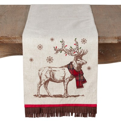 72 x13  Festive Reindeer And Tassel Design Holiday Runner Natural - Saro Lifestyle