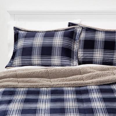 King Plaid to Sherpa Corbin Comforter & Sham Set Navy