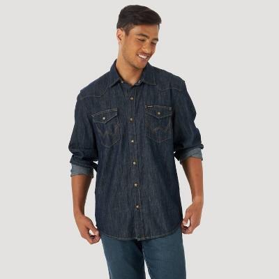 Wrangler Men's Denim Long Sleeve Button-Down Shirt - Dark Denim Wash