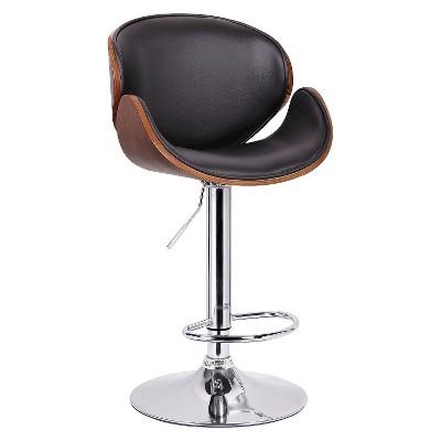 Crocus Modern Bar Stool   Walnut/Black   Baxton Studio